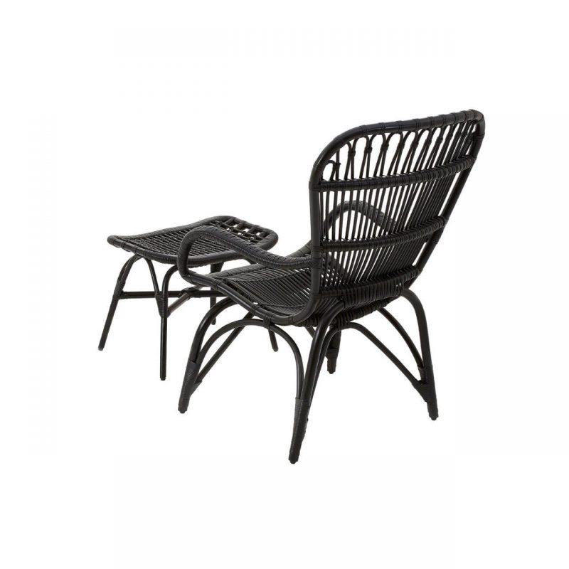 Cuba Rattan armchair & footstool black at FADS.co.uk