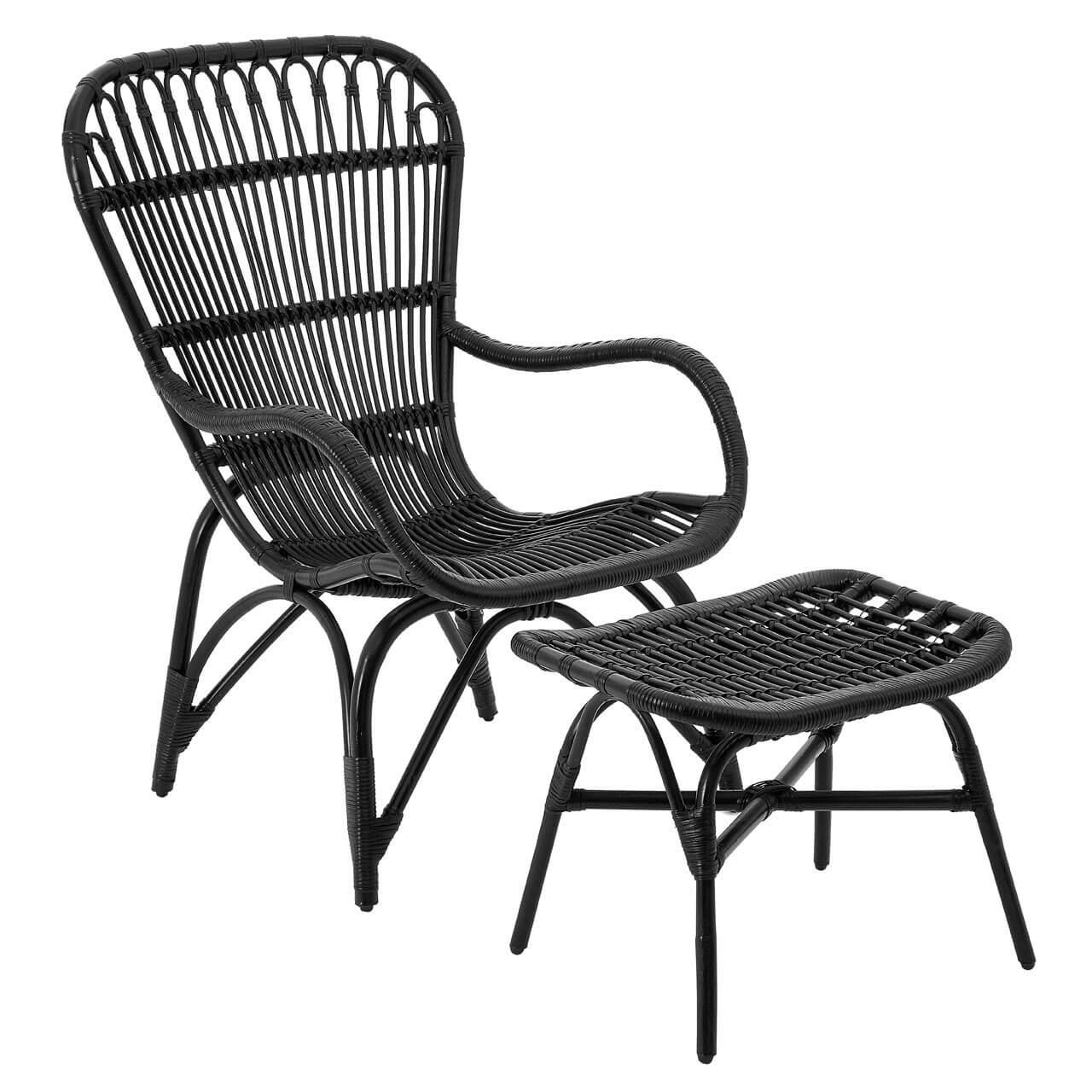Cuba Rattan Armchair Footstool Grey Or Black Fads