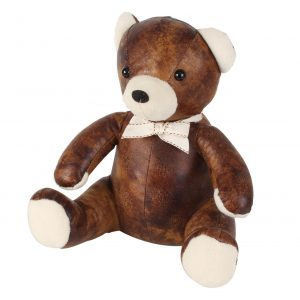 Teddy bear faux leather door stop