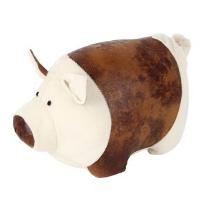 Pig faux leather door stop