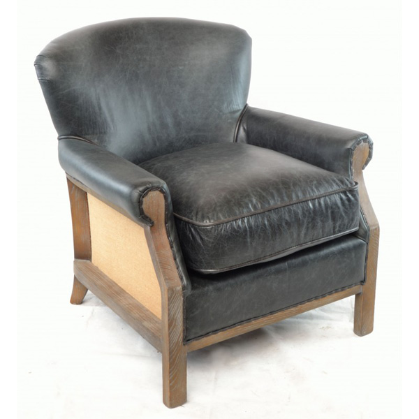Farley-armchair-leather-with-hessian-back---black-1