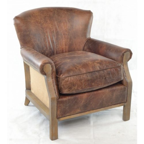 Farley-leather armchair-with-hessian-back---brown