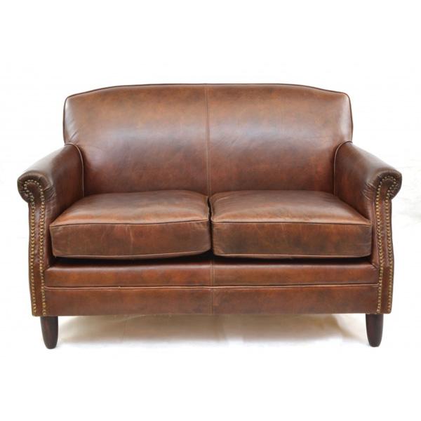 Girton Leather Sofa 2 Seater - brown