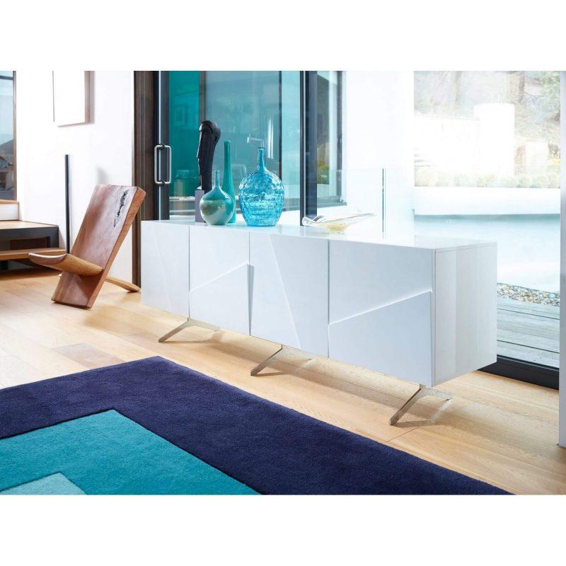 Glacier white high gloss 4 door sideboard Gillmore Space FADS Furniture & Design Studio