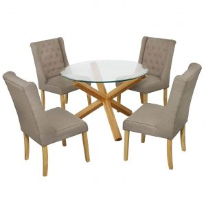 Grange glass and oak dining table with four beige verona chairs