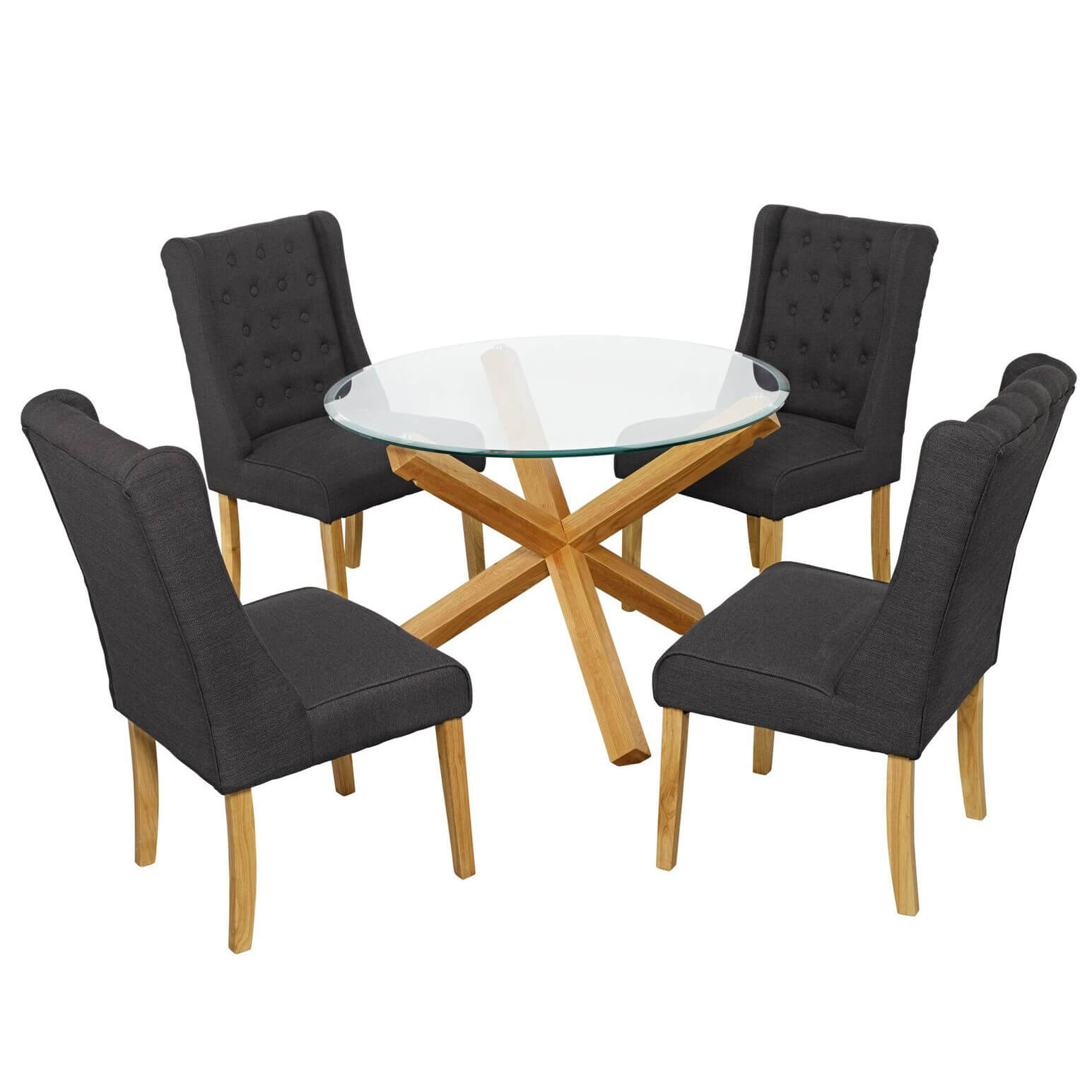 Grange glass and oak dining table with four grey verona chairs