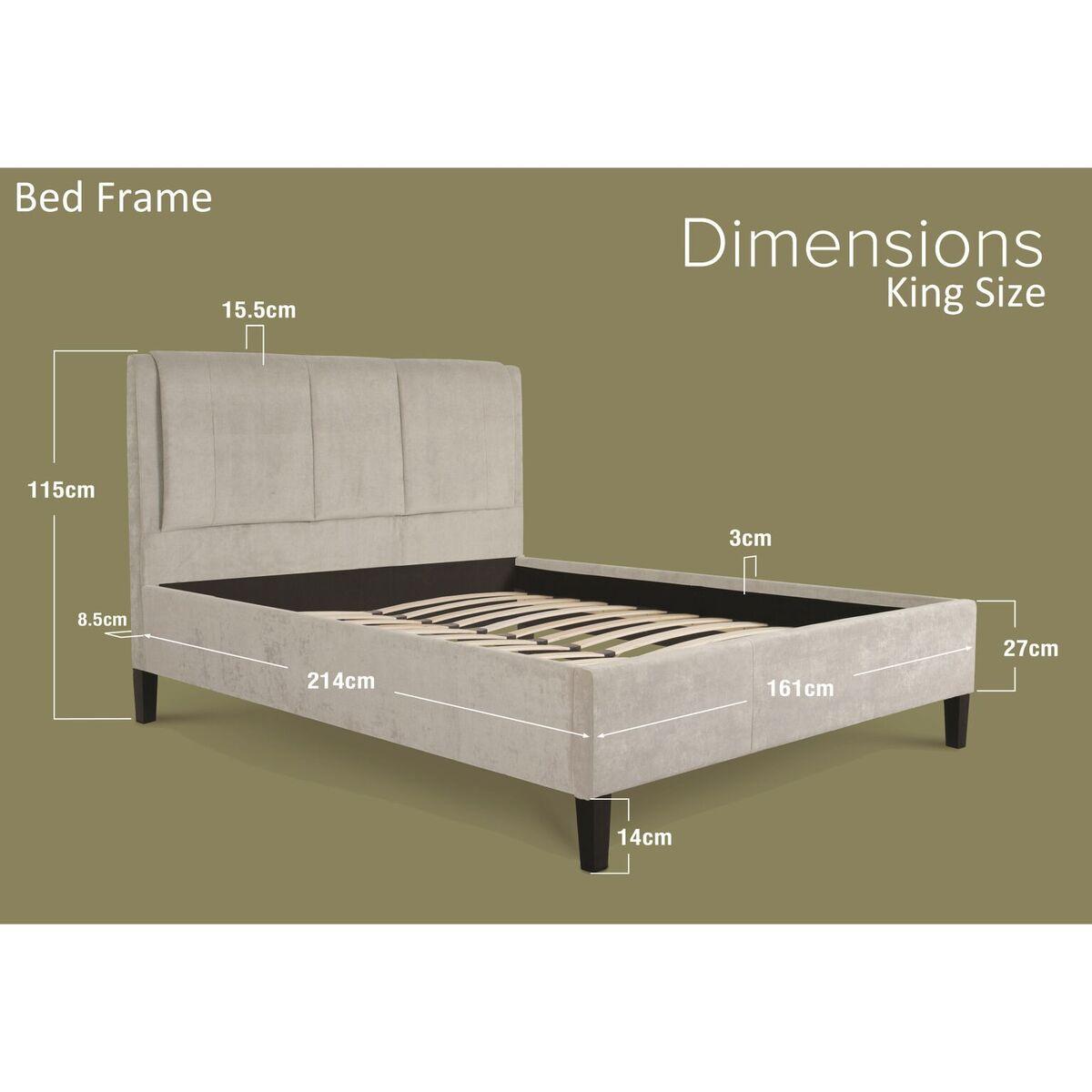 Edgar Light Grey Crushed Velvet Bed Dimensions King