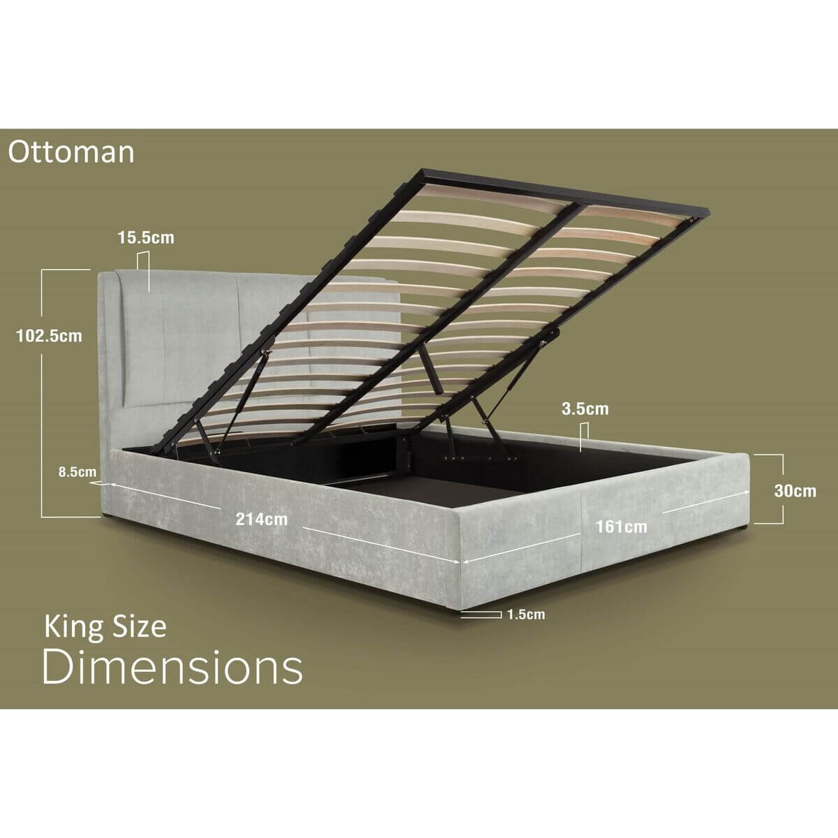 Edgar Light Grey Crushed Velvet Bed Ottoman Dimensions King