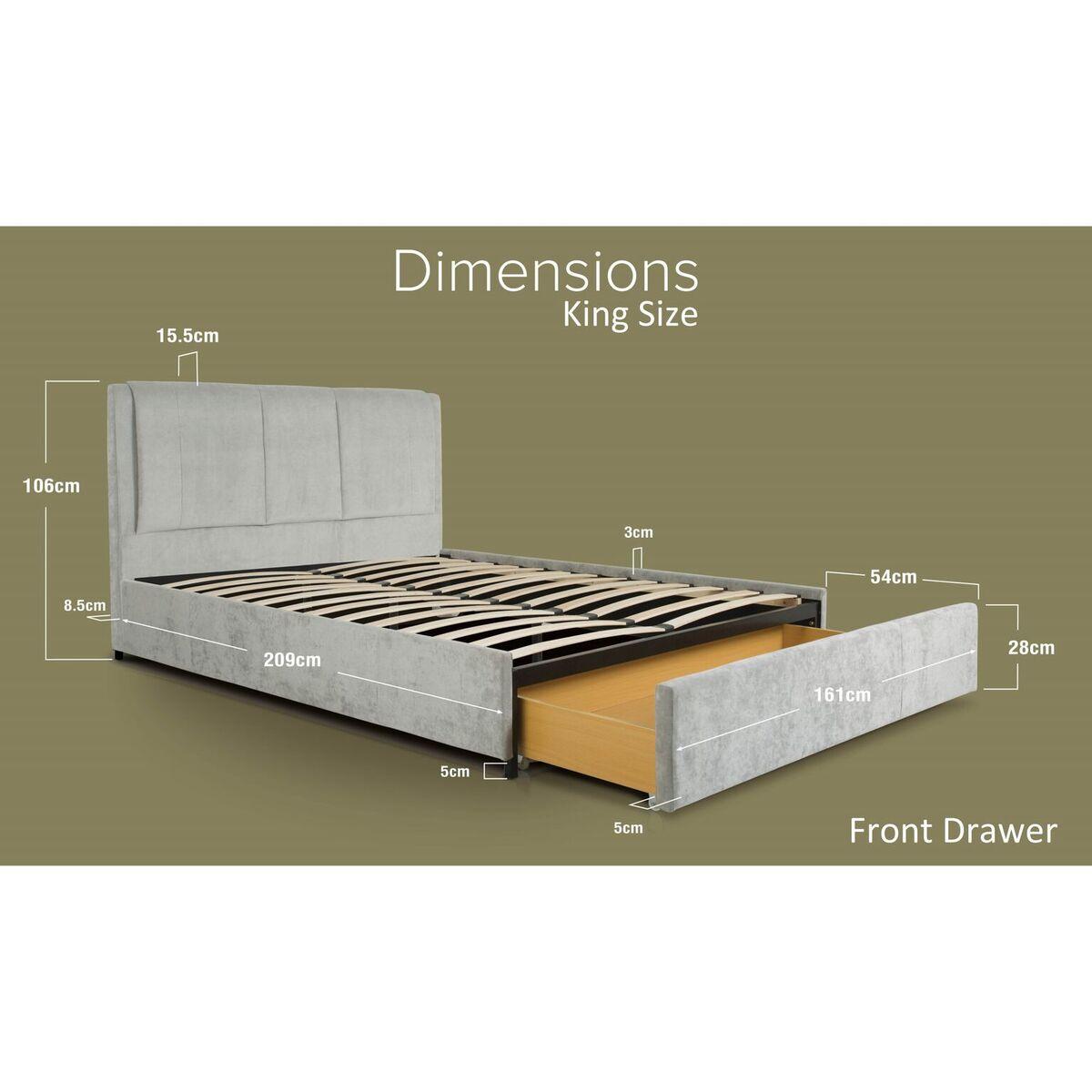 Edgar Light Grey Crushed Velvet Bed Front Drawer Dimensions King