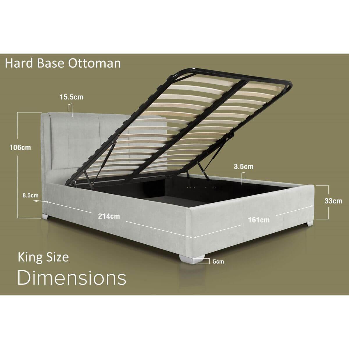 Edgar Light Grey Crushed Velvet Bed Hard Base Dimensions King