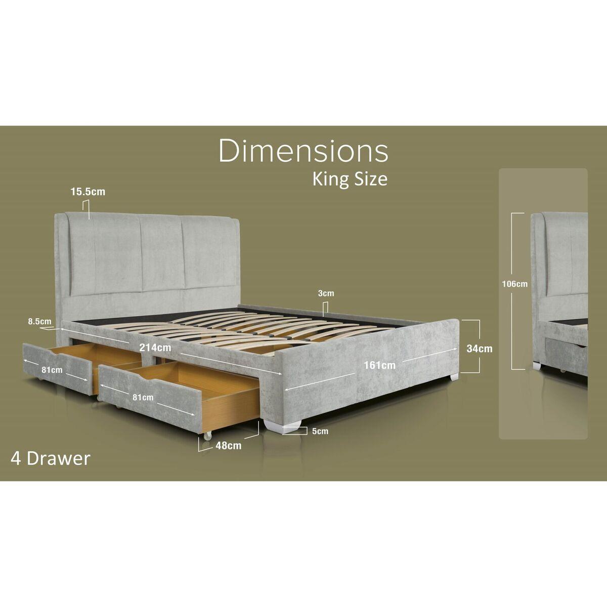 Edgar Light Grey Crushed Velvet Bed Storage Drawers Dimensions King