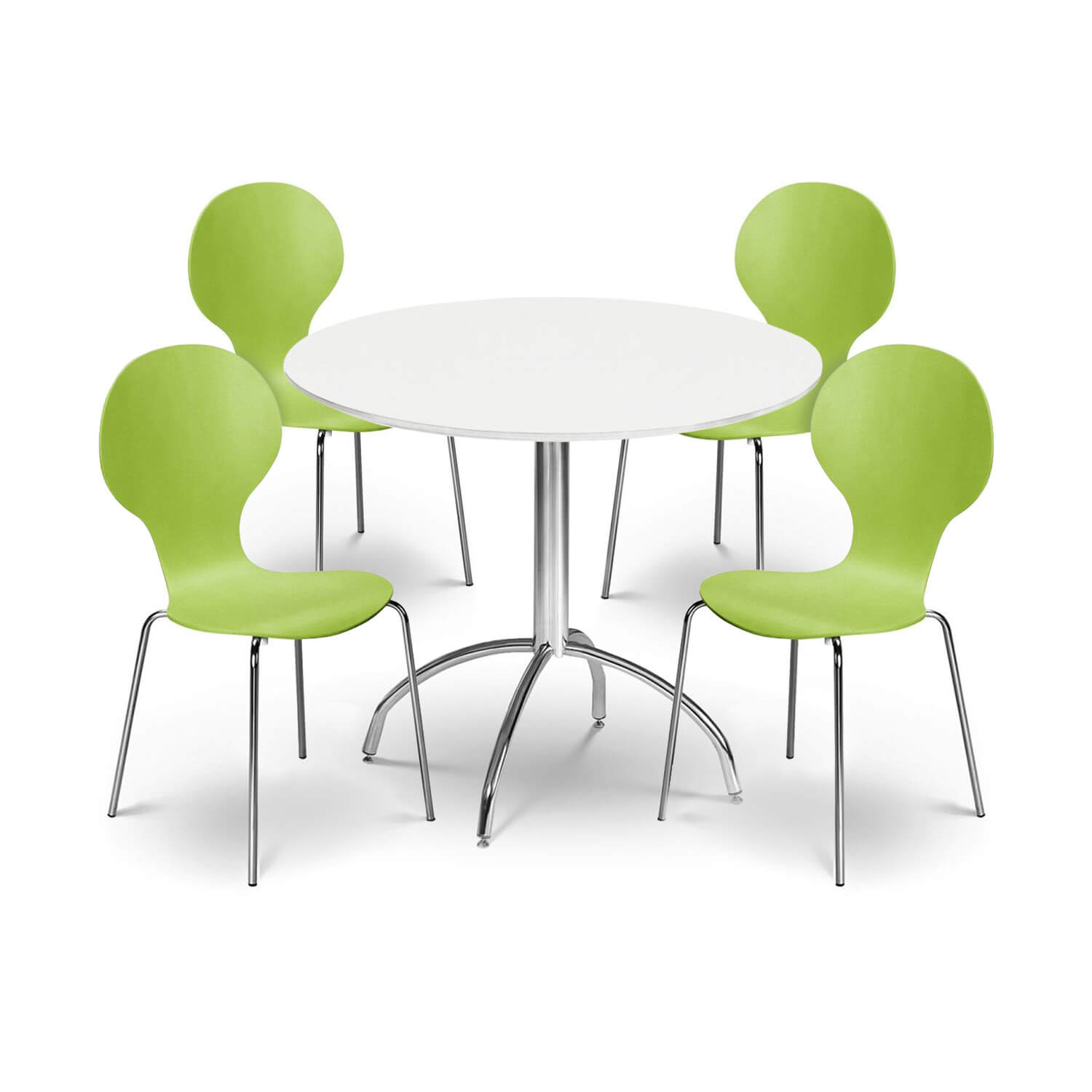 Keeler Bistro Dining Set with 4 Green Chairs