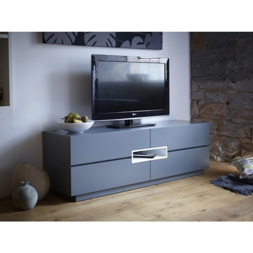 Matt graphite grey tv media unit Low-TV-sideboard---Savoye-GRAPHITE-with-WHITE-accent-5