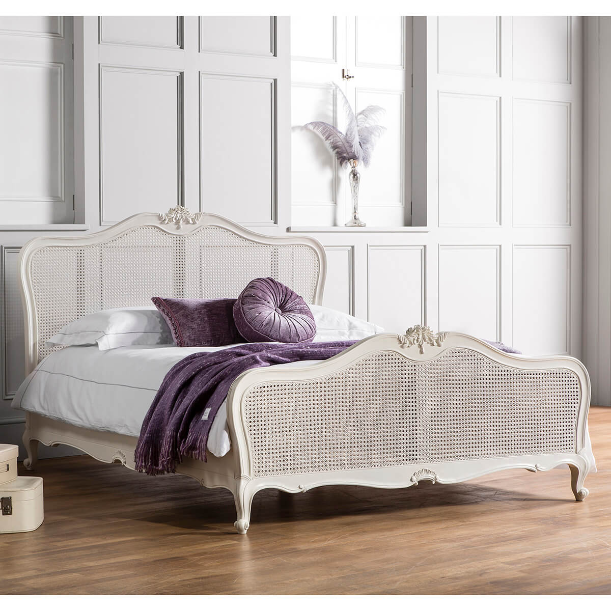 Madeleine French Rococo Style Chalk painted white bed kingsize double FADS Furniture & Design Studio cane panels