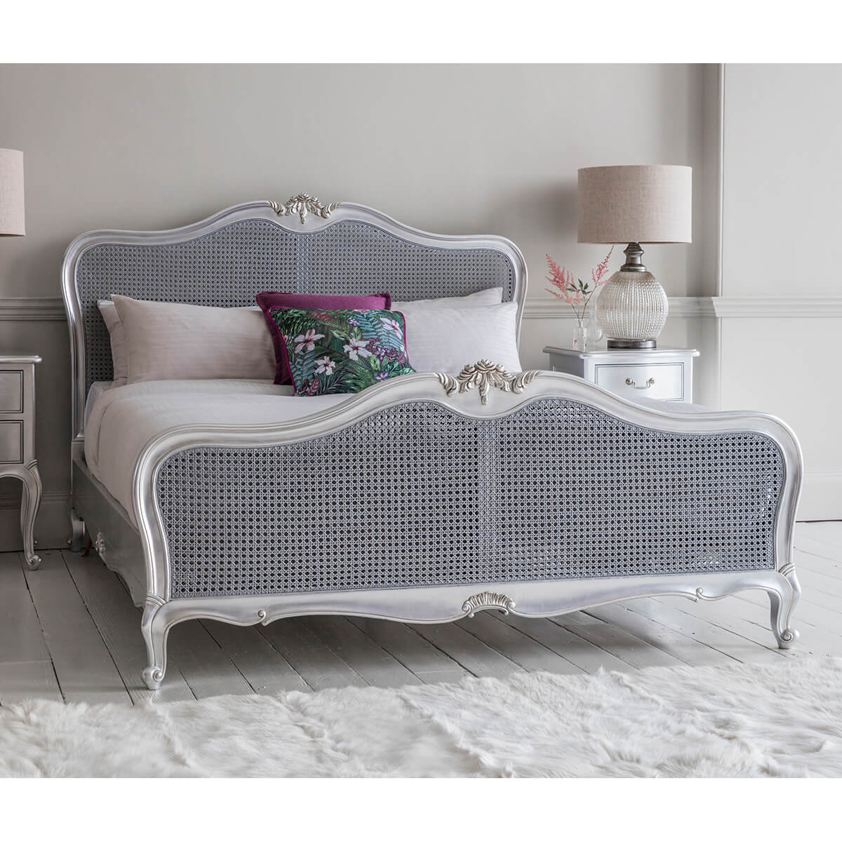 Madeleine French Rococo Bed Silver Leaf 5 6 Fads