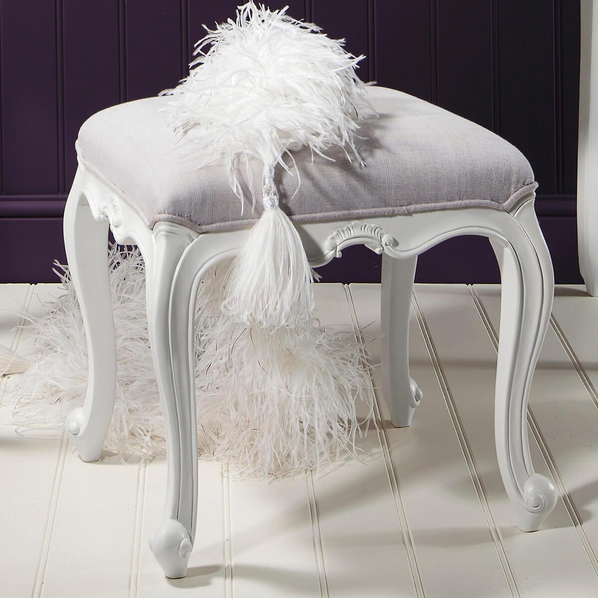 Madeleine Rococo Dressing Table Stool (Finish: Chalk)