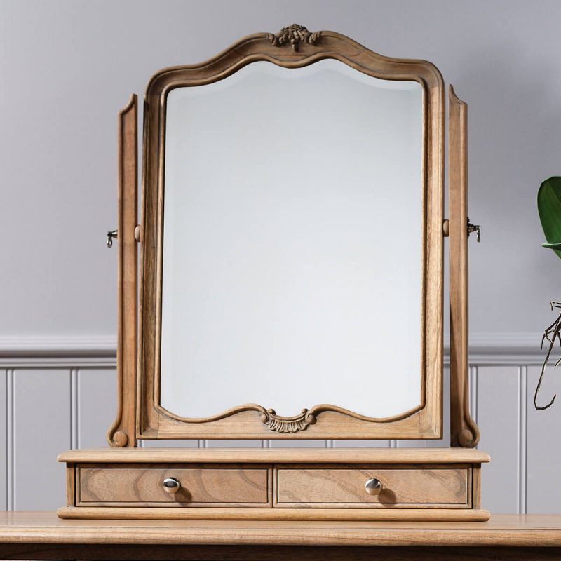 Madeleine weathered ash dressing table mirror