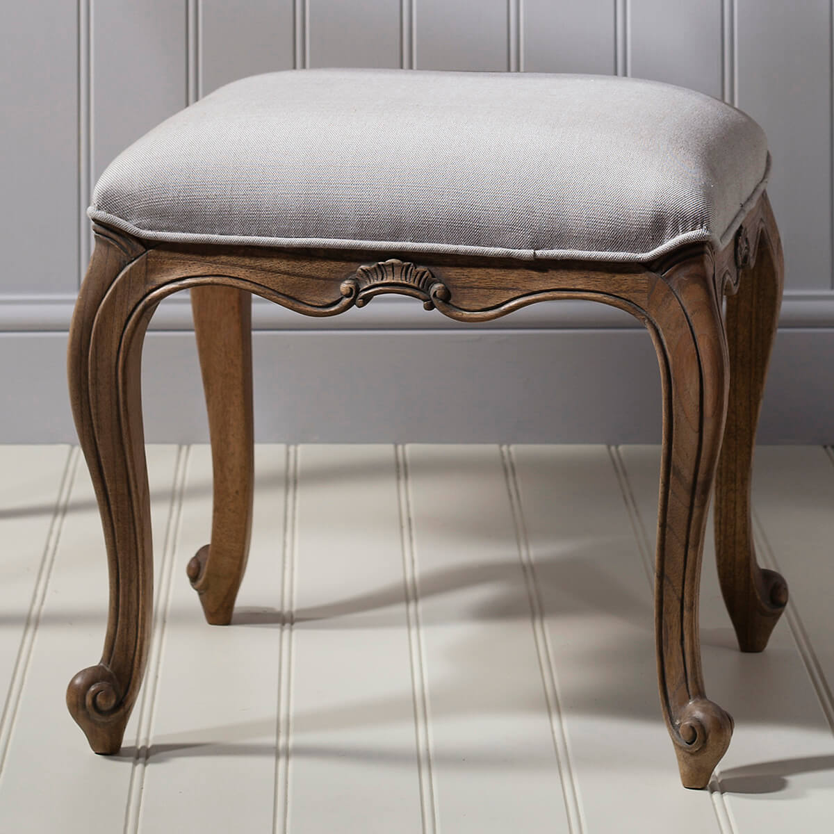 Madeleine weathered ash dressing table stool