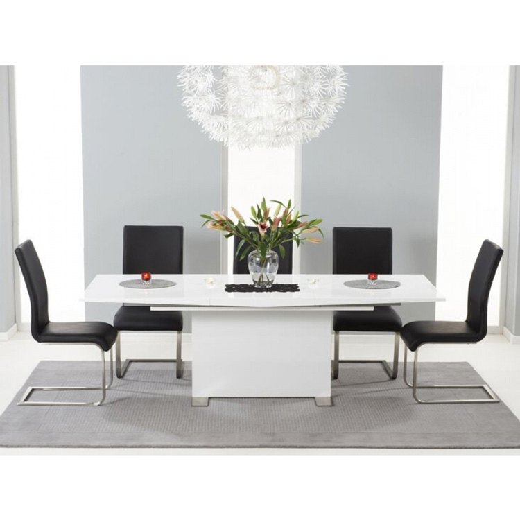 Marila Extending Dining Table Set with Coloured Chairs (Chair Colour: Black, Number of Chairs: 8)