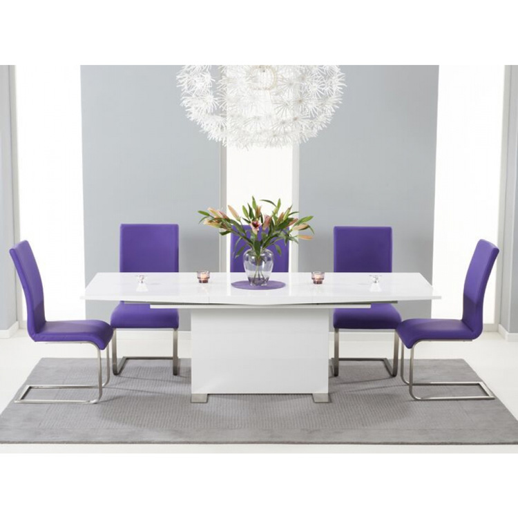 Marila-Extending-6-to-8-seater-dining-set-white-high-gloss-and-faux-leather-purple.-chairs