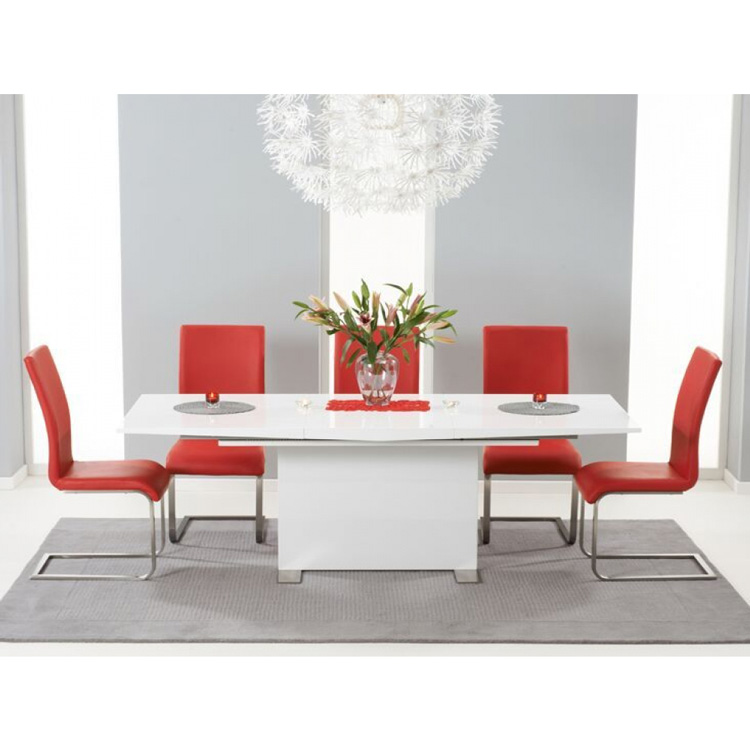 Marila-Extending-6-to-8-seater-dining-set-white-high-gloss-and-faux-leather-red-chairs