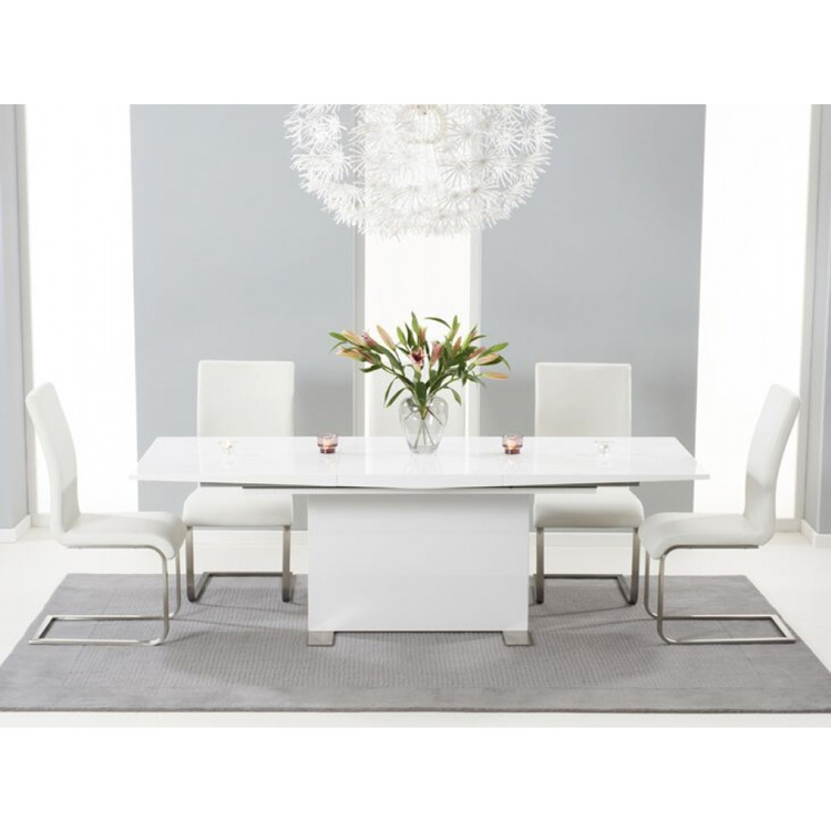 Marila Extending Dining Table Set with Coloured Chairs (Chair Colour: Ivory, Number of Chairs: 6)