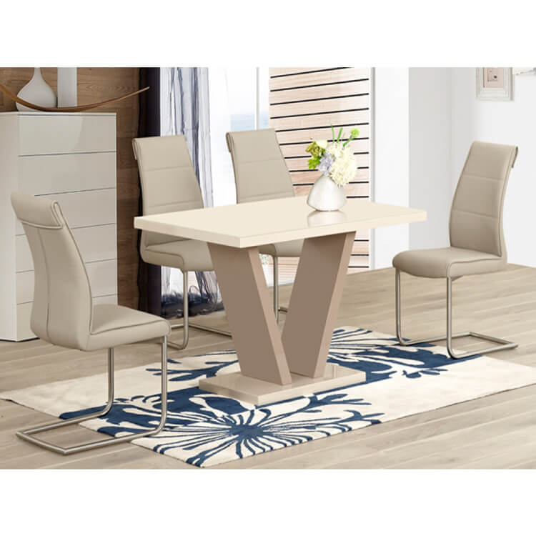 Milan Cream High Gloss Dining Set 4 To 6 Seater Dining Sets Fads