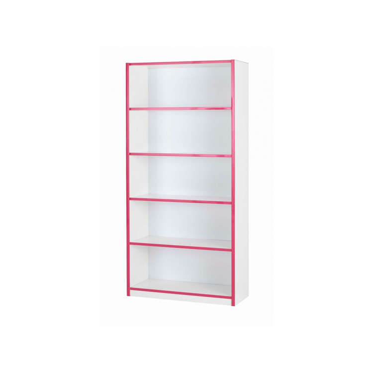 Modern-kiddi-bookcase-white-and-pink-assembled