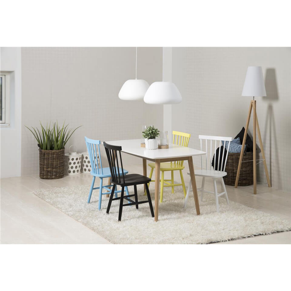 Riano Dining Table Set with 4 Multicoloured Chairs (Chair Colour: White, Number of Chairs: 4)