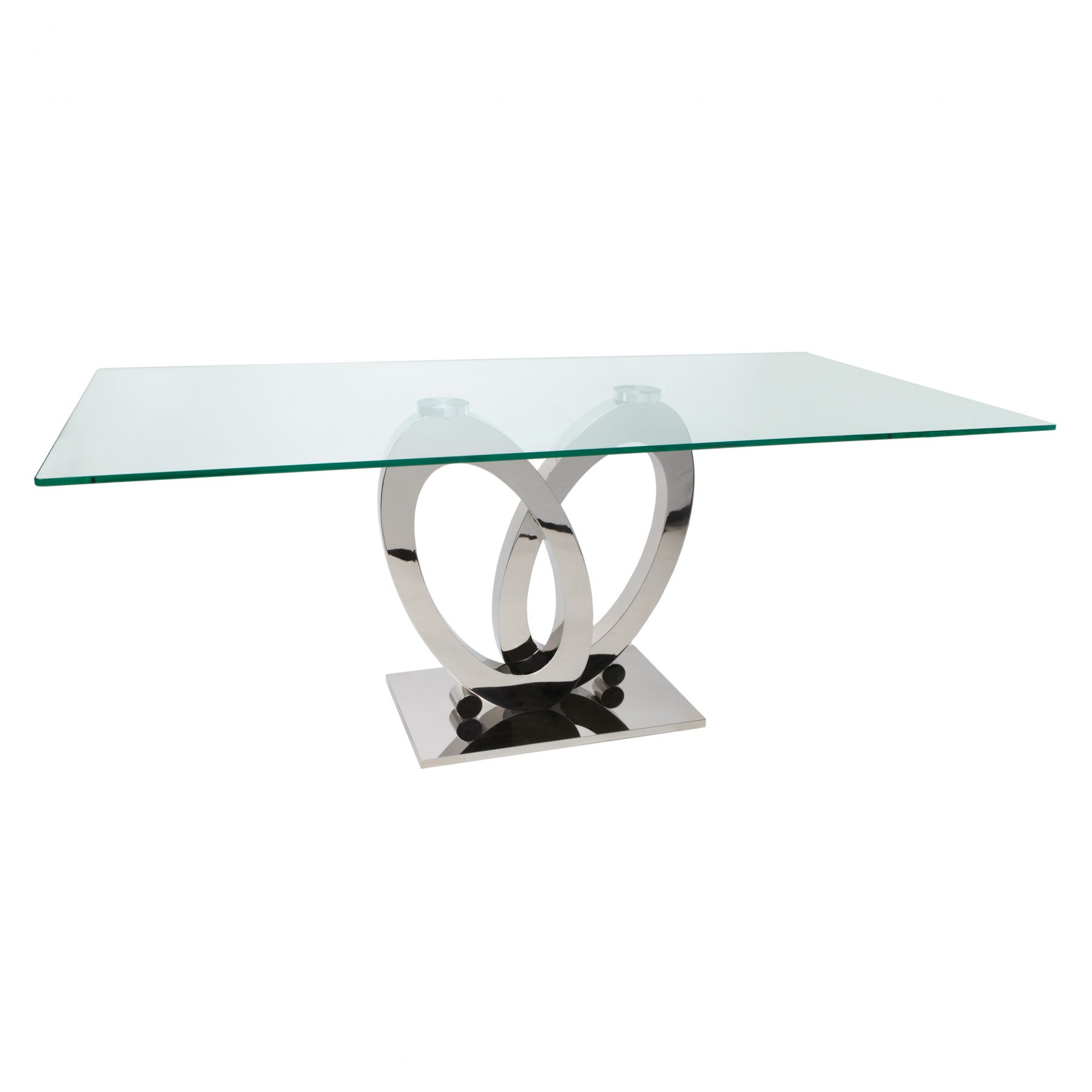 Orion Glass and Stainless Steel Dining Table 6 - 8 Seater