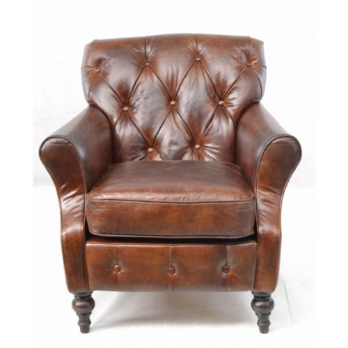 Sherlock-brown-leather-armchair---button-back,-turned-legs-1
