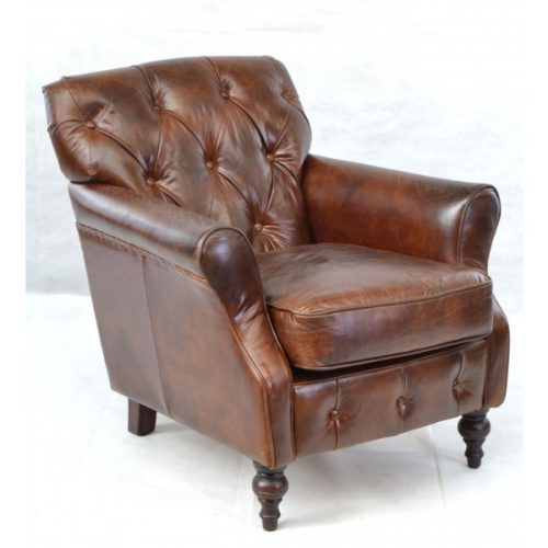 Sherlock-brown-leather-armchair---button-back,-turned-legs