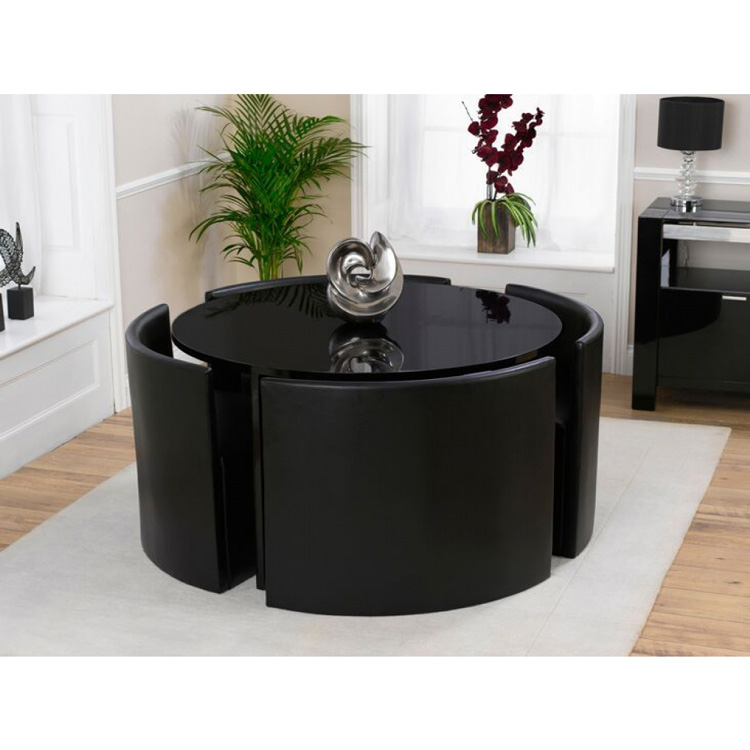 Sophia Round Stowaway Dining Table - Black at FADS.co.uk