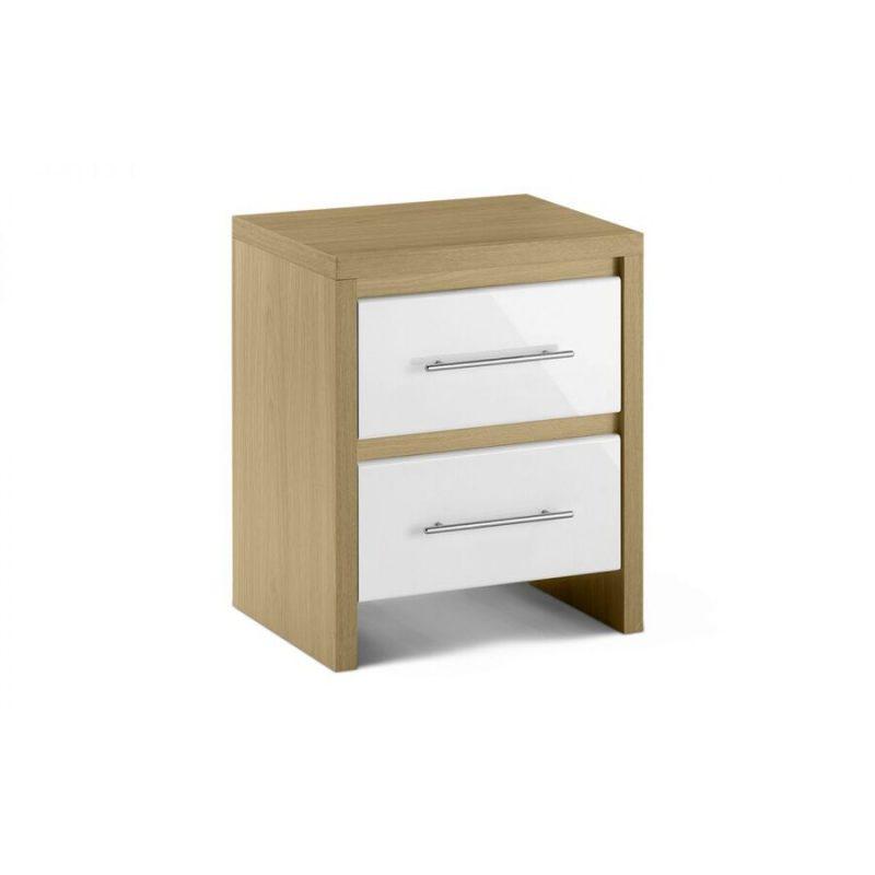 Stockholm White Gloss & Oak Bedside Cabinet