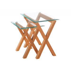 Vigo-nest-2-tables-glass-and-oak