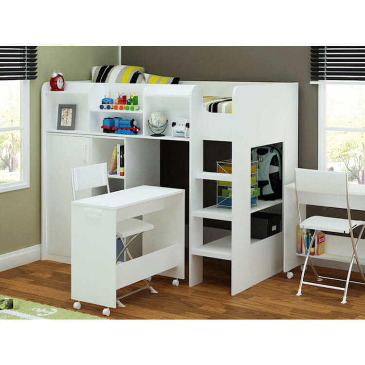 Wizard Single High Sleeper Bed Workstation White