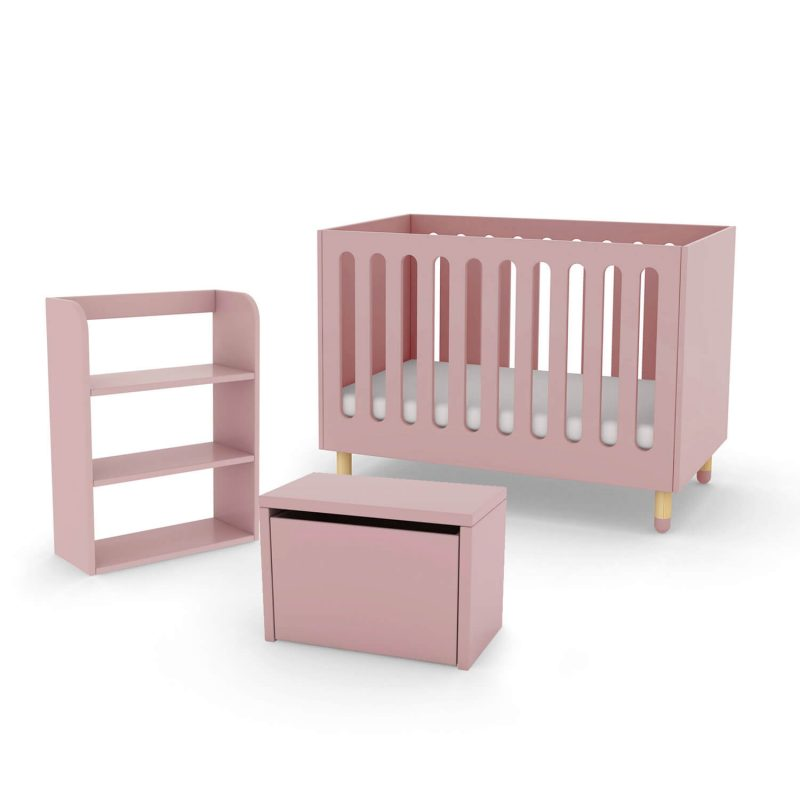 Flexa cot bed storage bench and bookcase rose pink