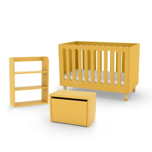 Flexa cot bed storage bench and bookcase yellow