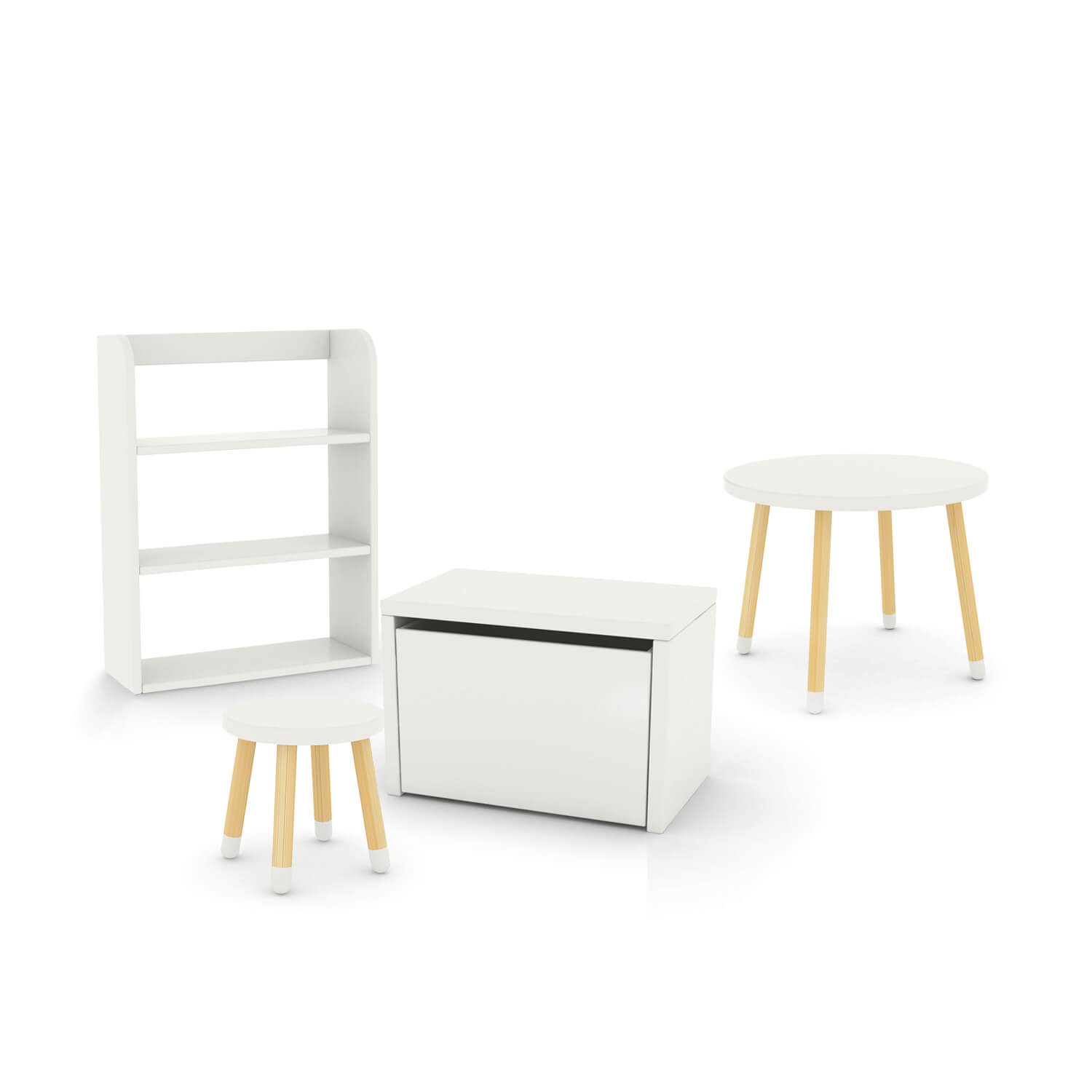 FLEXA Play Bedroom Set - table, bookcase, storage bench and stool (Colour: Multicolour)