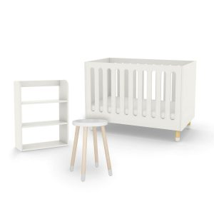 flexa-cot-bed-bookcase-side-table-white