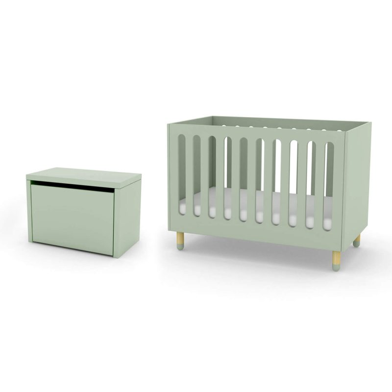 FLEXA cot bed and storage bench mint green