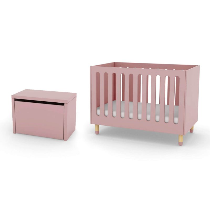 FLEXA cot bed and storage bench rose pink