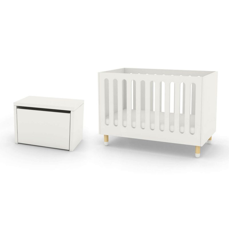 FLEXA cot bed and storage bench white