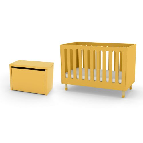 FLEXA cot bed and storage bench yellow