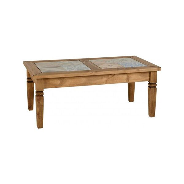 Salvador Tile Top Coffee Table In Distressed Waxed Pine Fads
