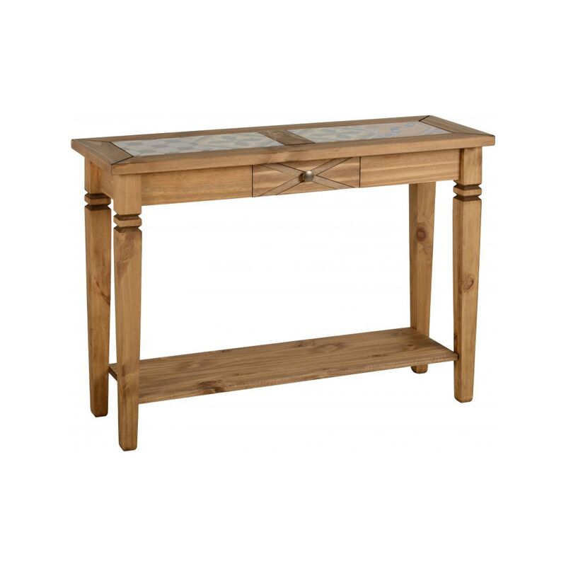 kingston tile top console table in distressed waxed pine