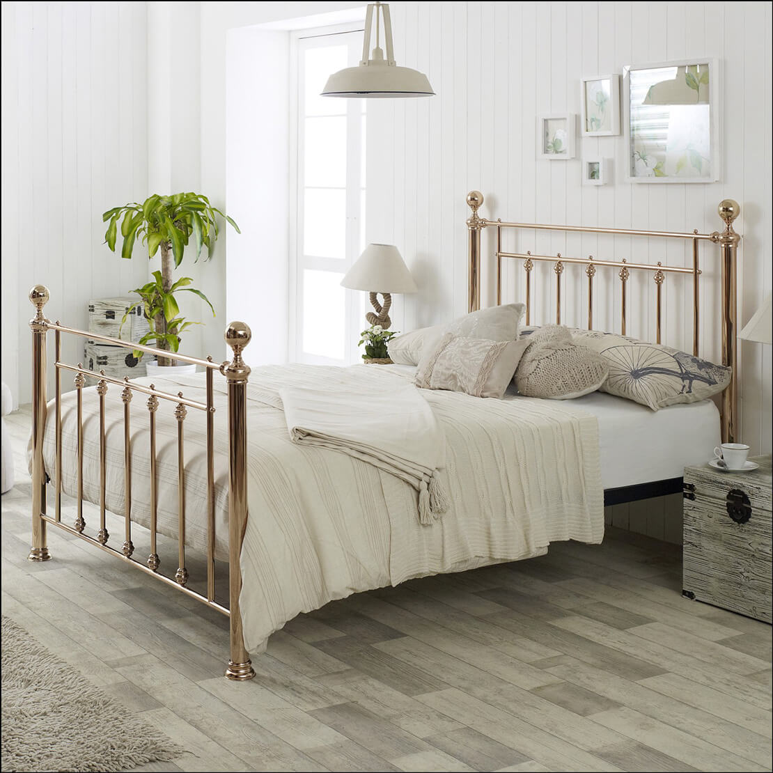 Libra Metal Rose Gold Bed Frame Metal Beds Free