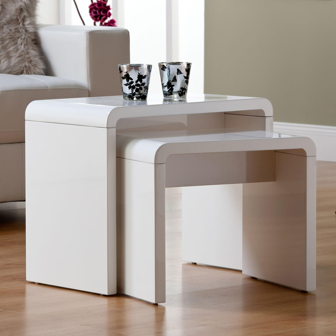 Toscana white high gloss nest of tables nest of tables for White side table