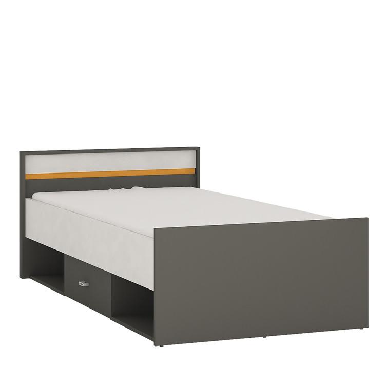 Space single bed with storage drawers orange trim
