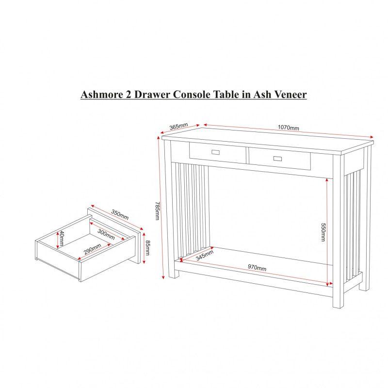ashmore console table dimensions